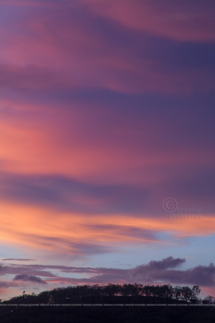 Lingering clouds on a colourful evening